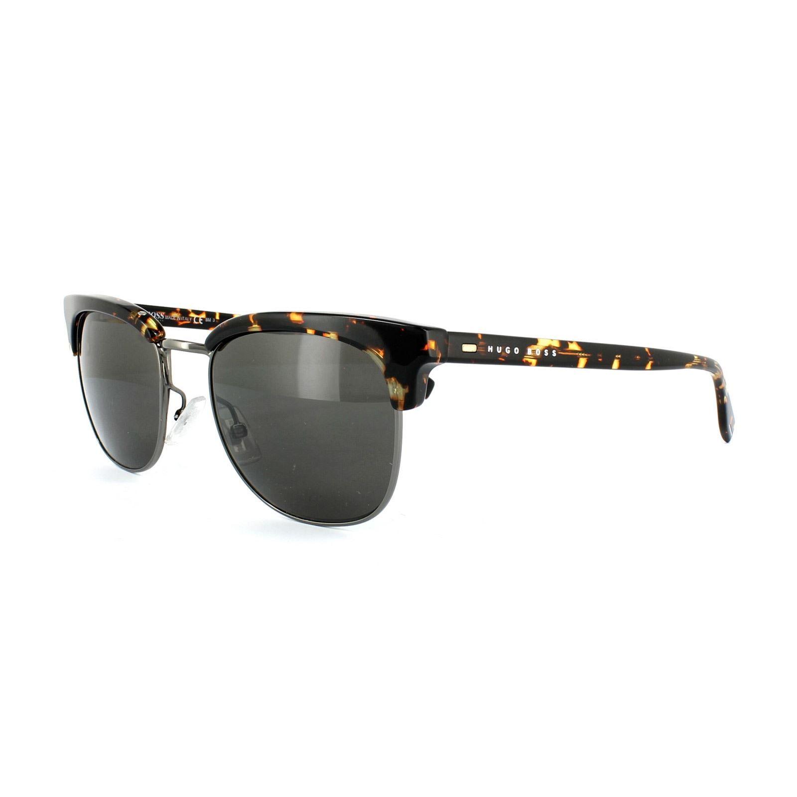 Hugo Boss Sunglasses 0667 TZ4 NR Dark Havana Ruthenium Brown Grey