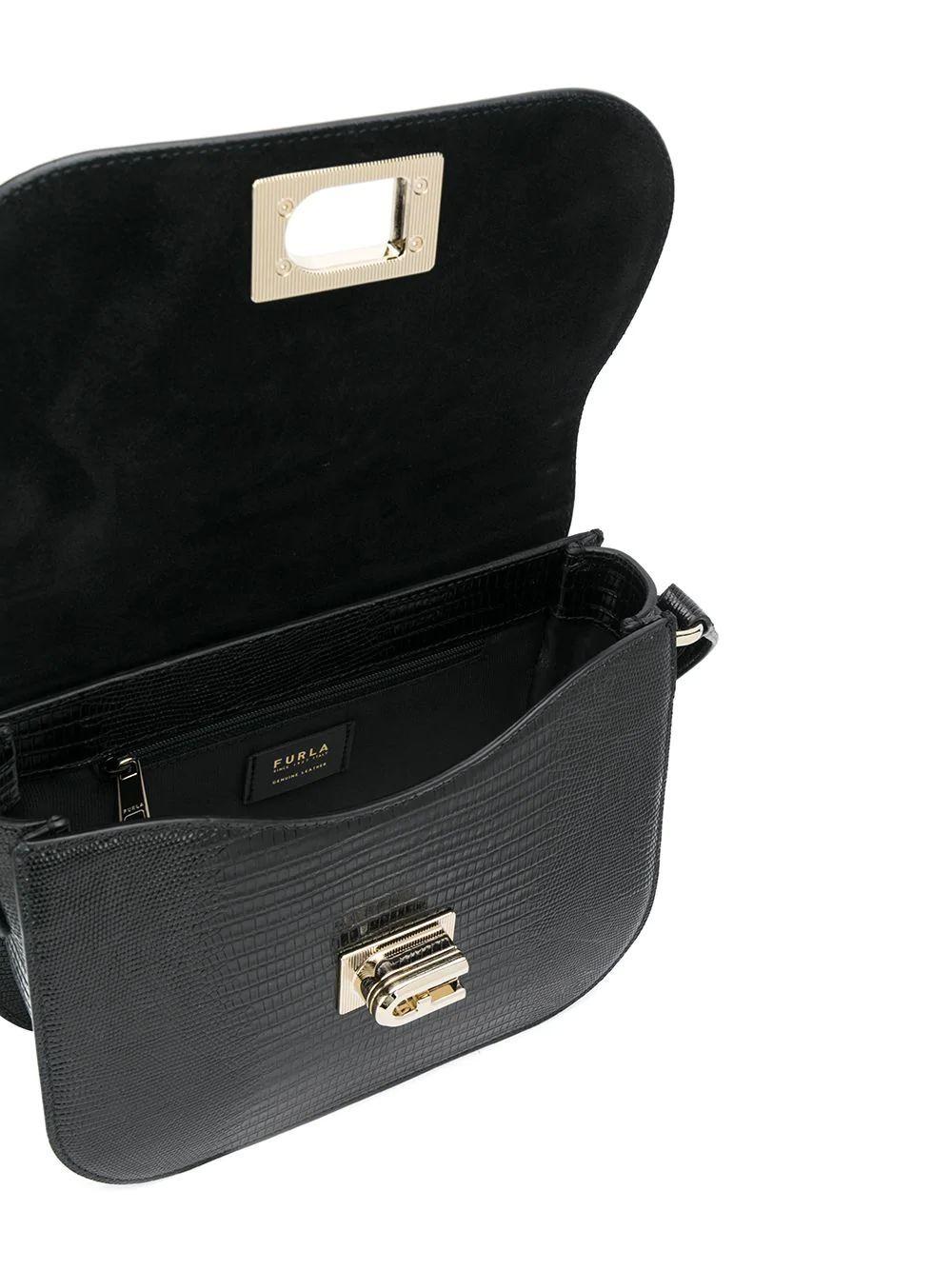 FURLA WOMEN'S 1065990 BLACK LEATHER SHOULDER BAG