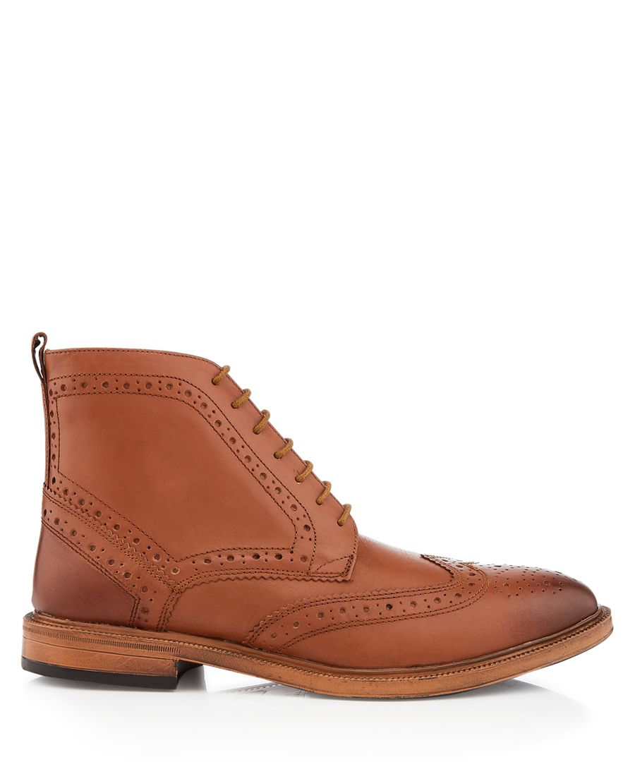 Boston tan perforated ankle boots