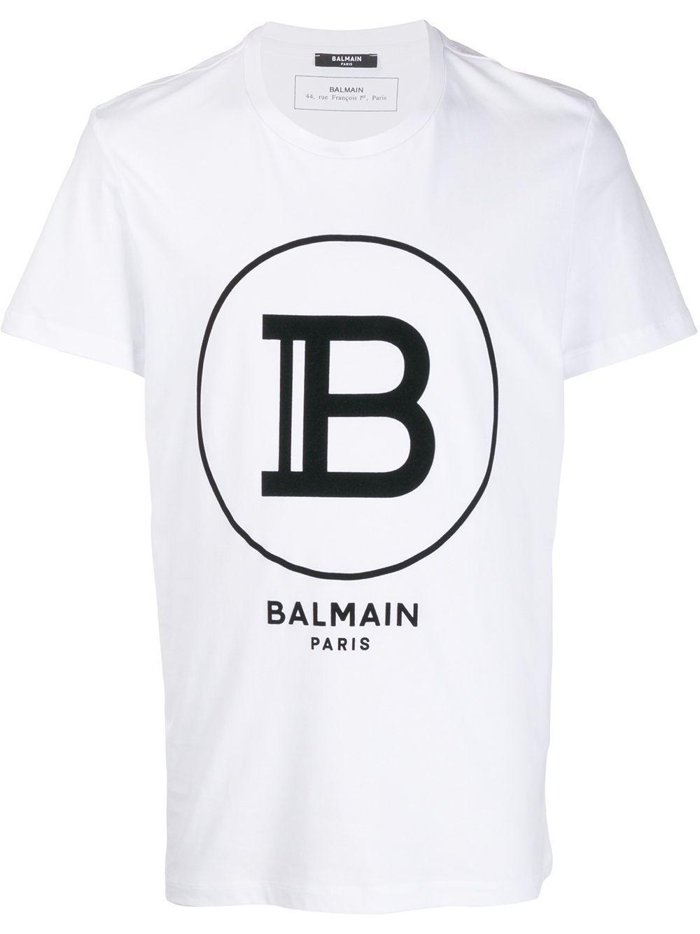 BALMAIN MEN'S TH11601I2010FA WHITE COTTON T-SHIRT