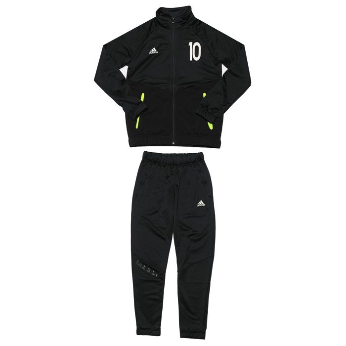 Boy's adidas Infant Messi FT Tracksuit in Black yellow