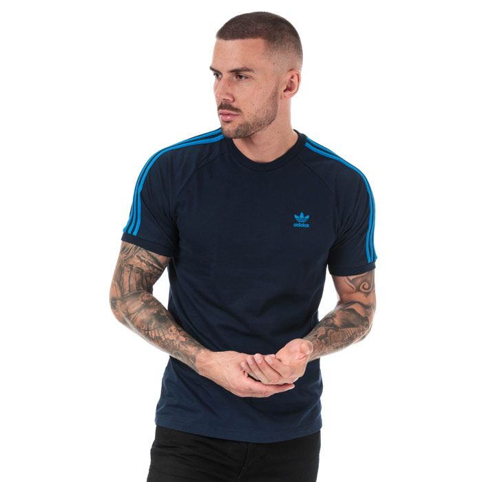 Men's adidas Originals 3-Stripes T-Shirt in Blue
