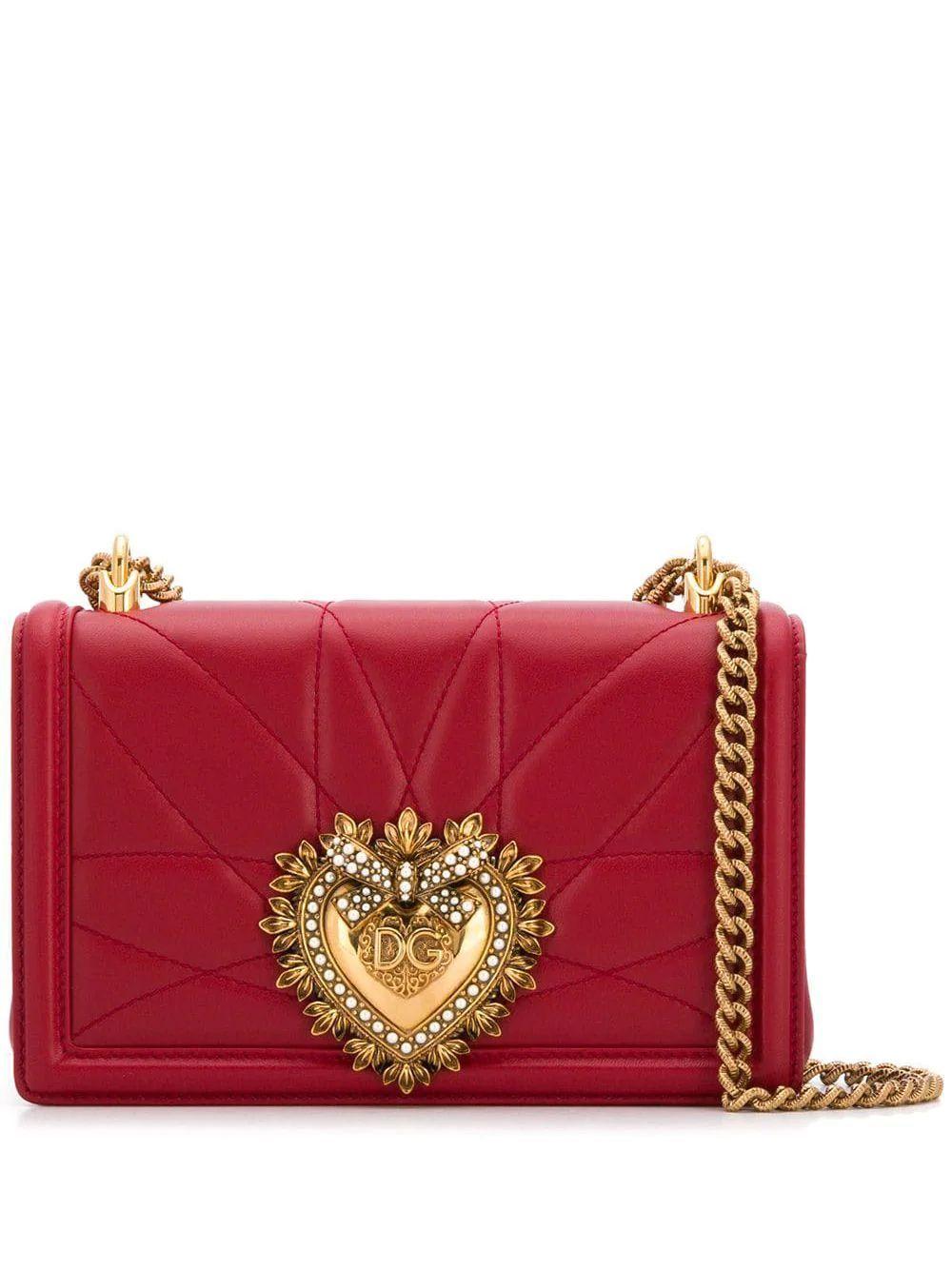 DOLCE E GABBANA WOMEN'S BB6652AV96787124 RED LEATHER SHOULDER BAG