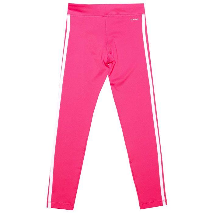 Girl's adidas Junior Equpment 3 Stripe Legging in Pink