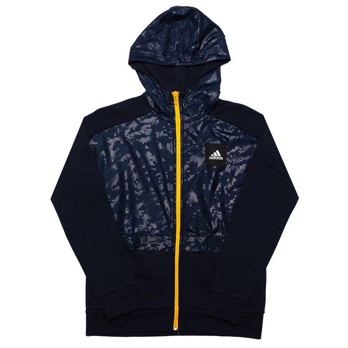 Boy's adidas Junior Sport ID Cover-Up Zip Hoody in Navy
