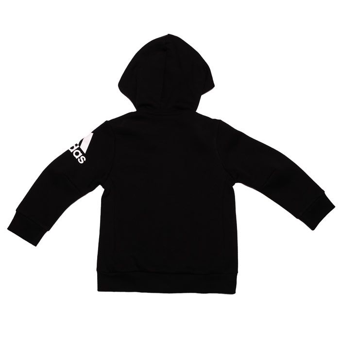 Boy's adidas Junior Must Haves Zip Hoody in Black-White