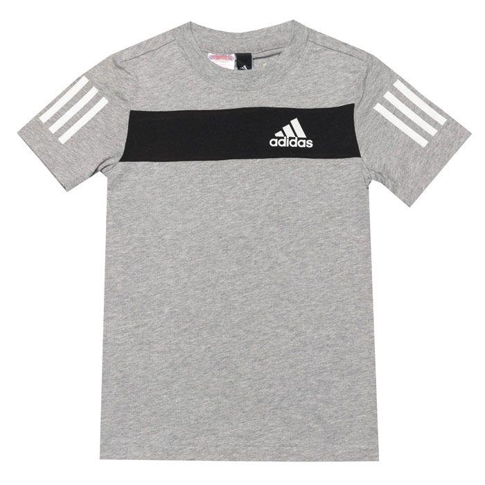 Boys' adidas Infant Sport ID T-Shirt in Grey Heather