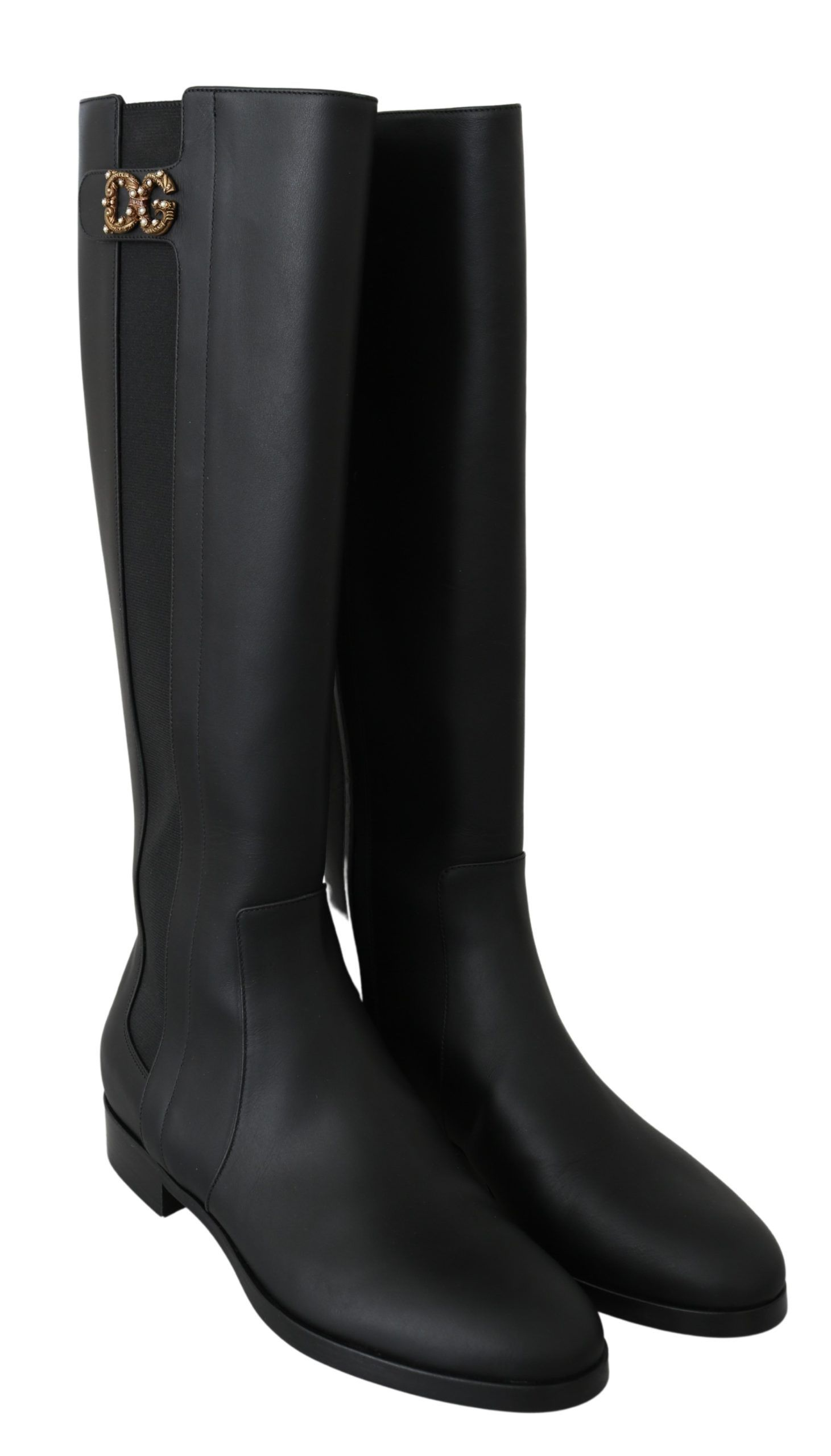 Dolce & Gabbana Black Leather Knee High Boots Shoes