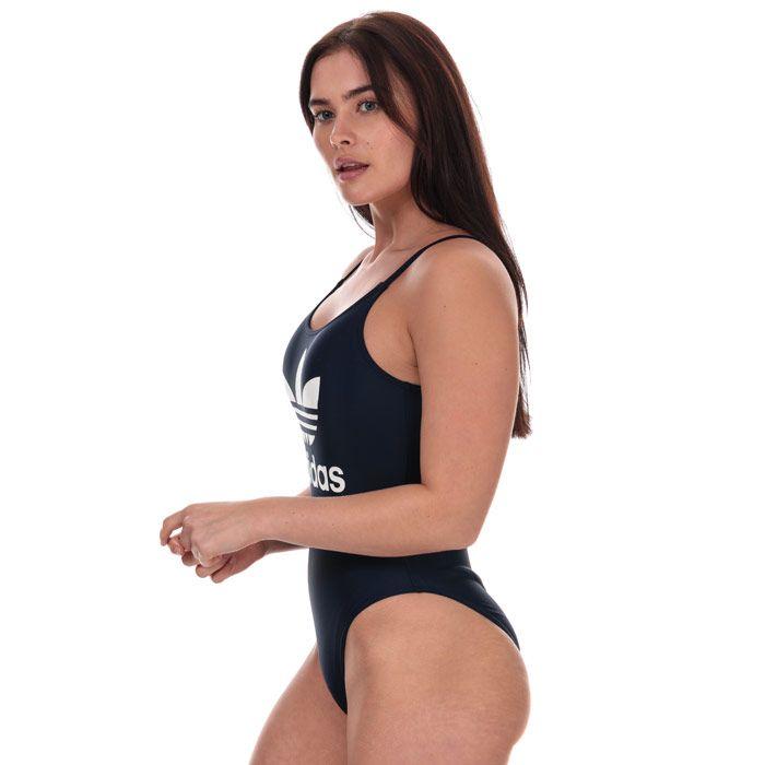 Women's adidas Originals Trefoil Swimsuit Navy 12in Navy
