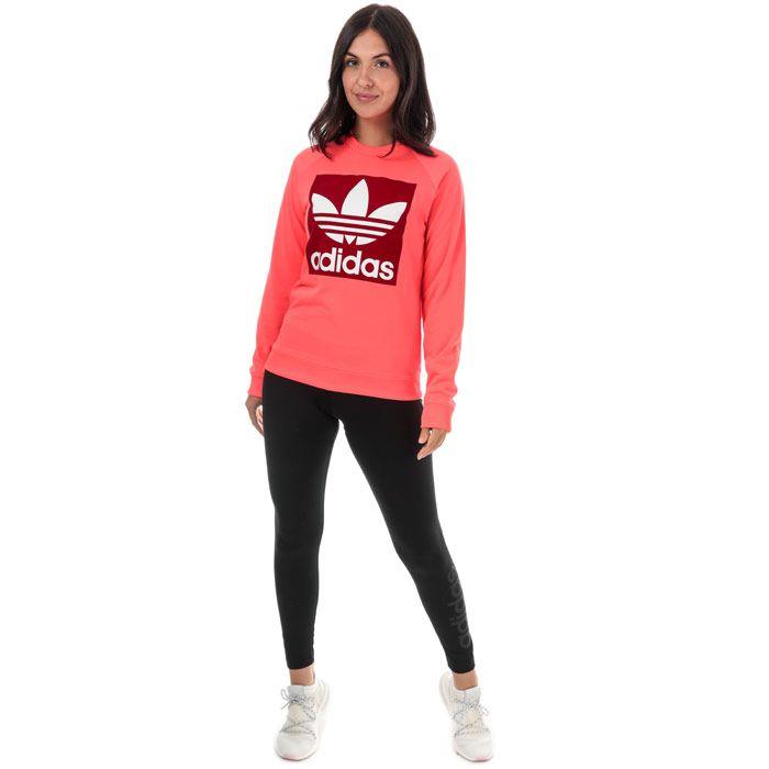 Women's adidas Originals Trefoil Crew Sweatshirt in Coral
