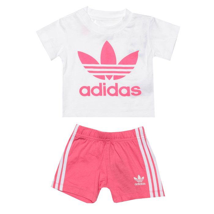 Girls' adidas Originals Infant Short & T-Shirt Set in White pink