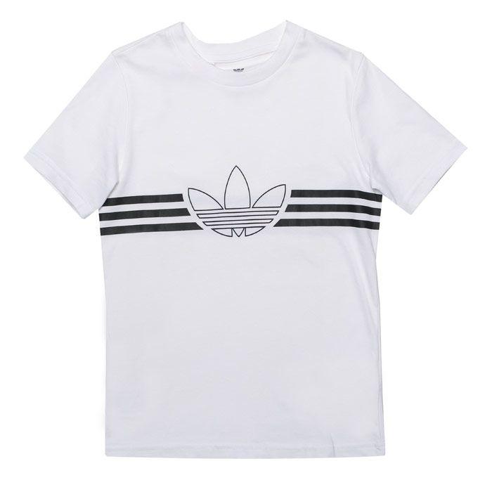 Boy's adidas Originals Junior Outline T-Shirt in White Black