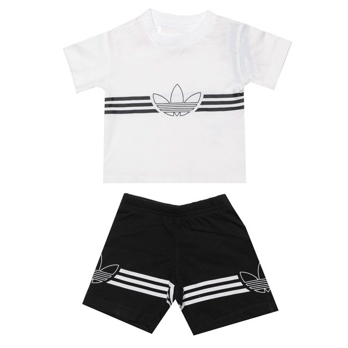 Boys' adidas Originals Baby Outline Set in White Black