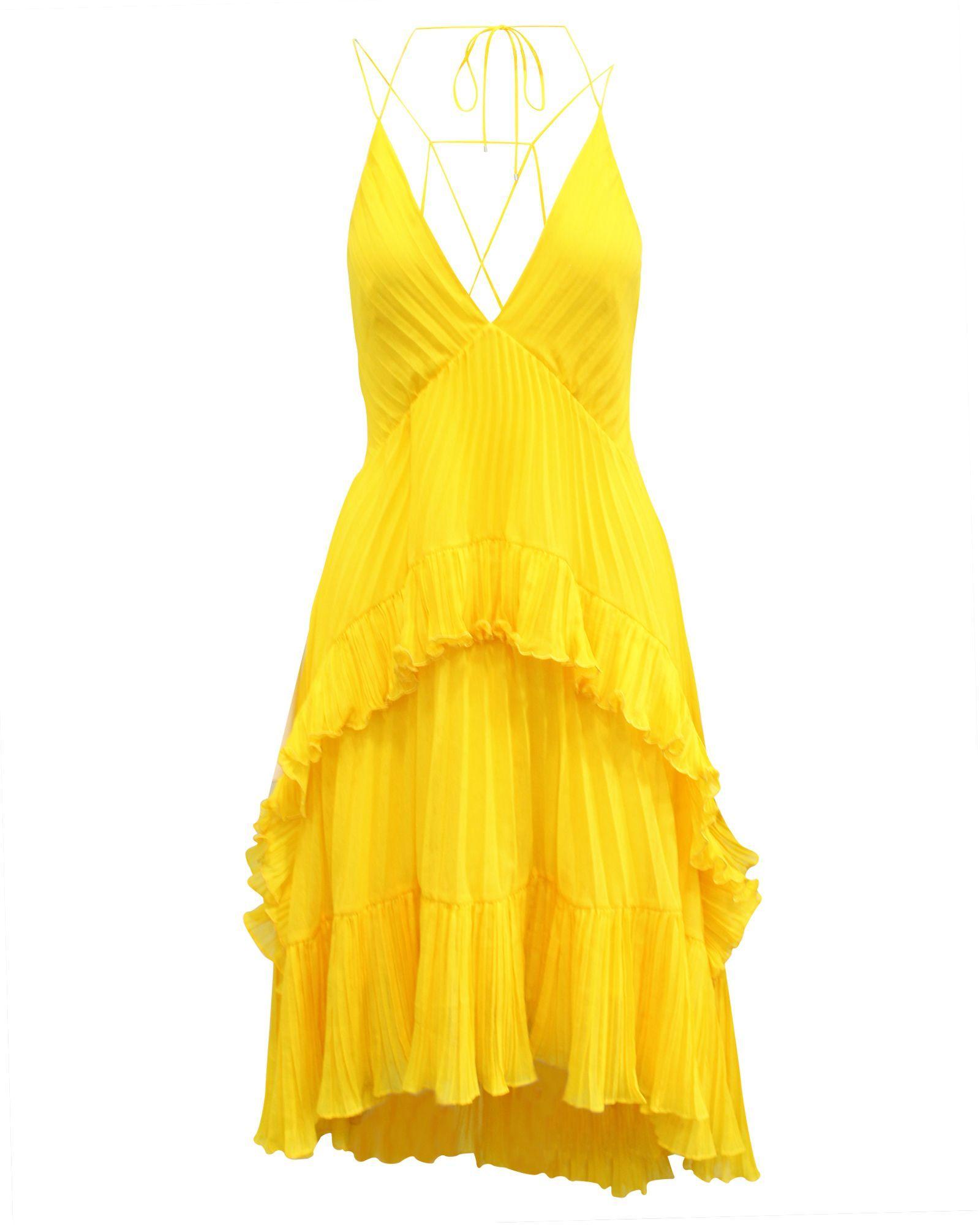 Halston Heritage Yellow Pleated Dress