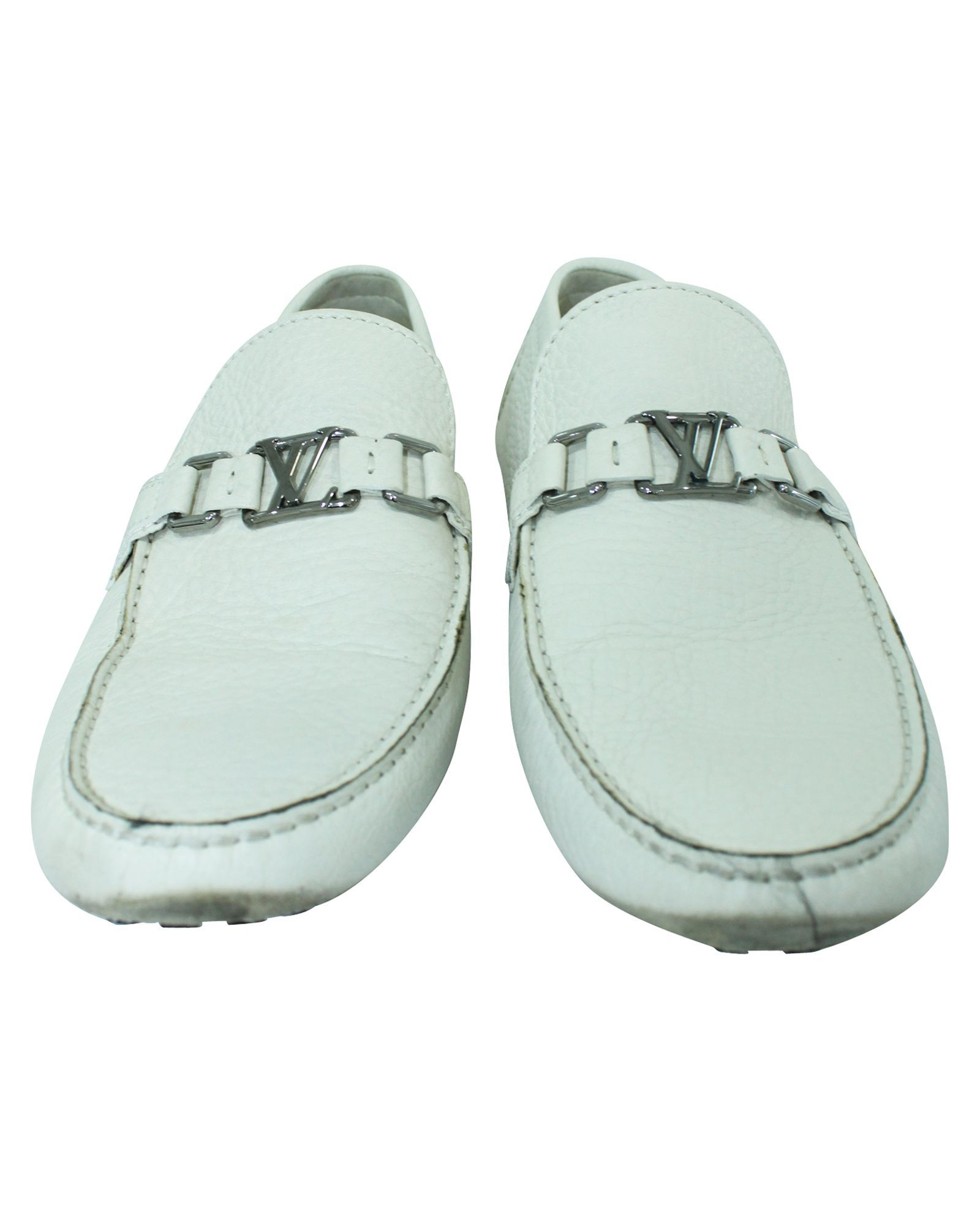 Louis Vuitton White Driving Leather Loafers -Pre Owned Condition Good
