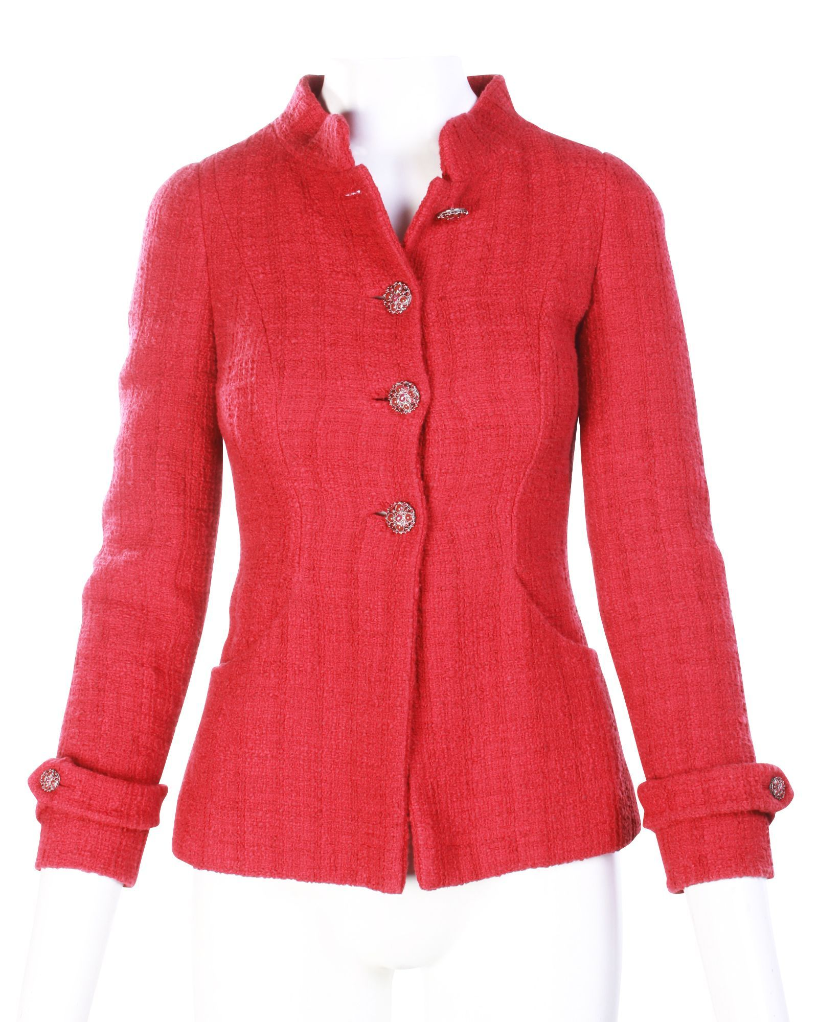 Chanel Red Tweed Jacket -Pre Owned Condition Good