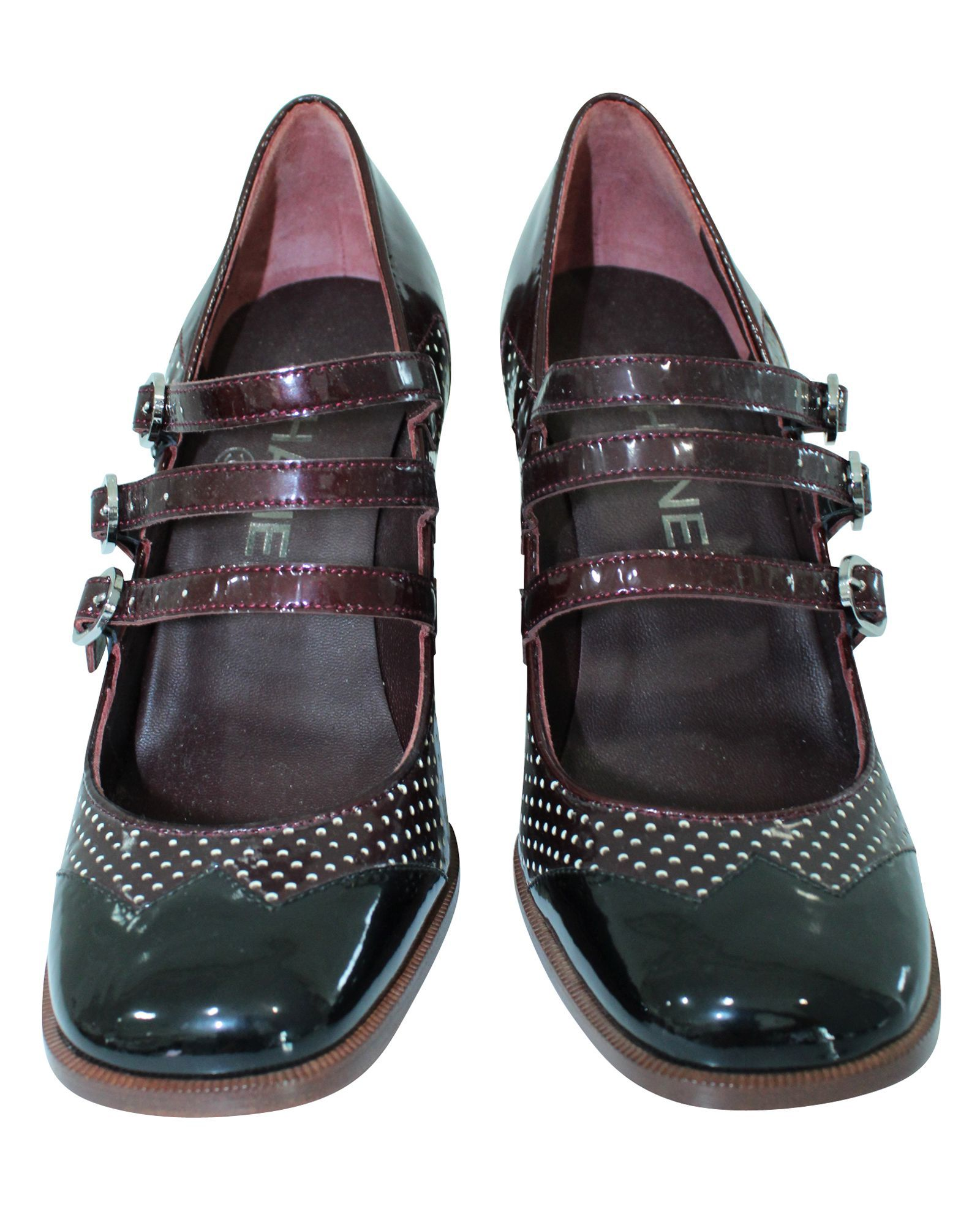 Chanel Black & Burgundy Block Heel Pumps -Pre Owned Condition Excellent