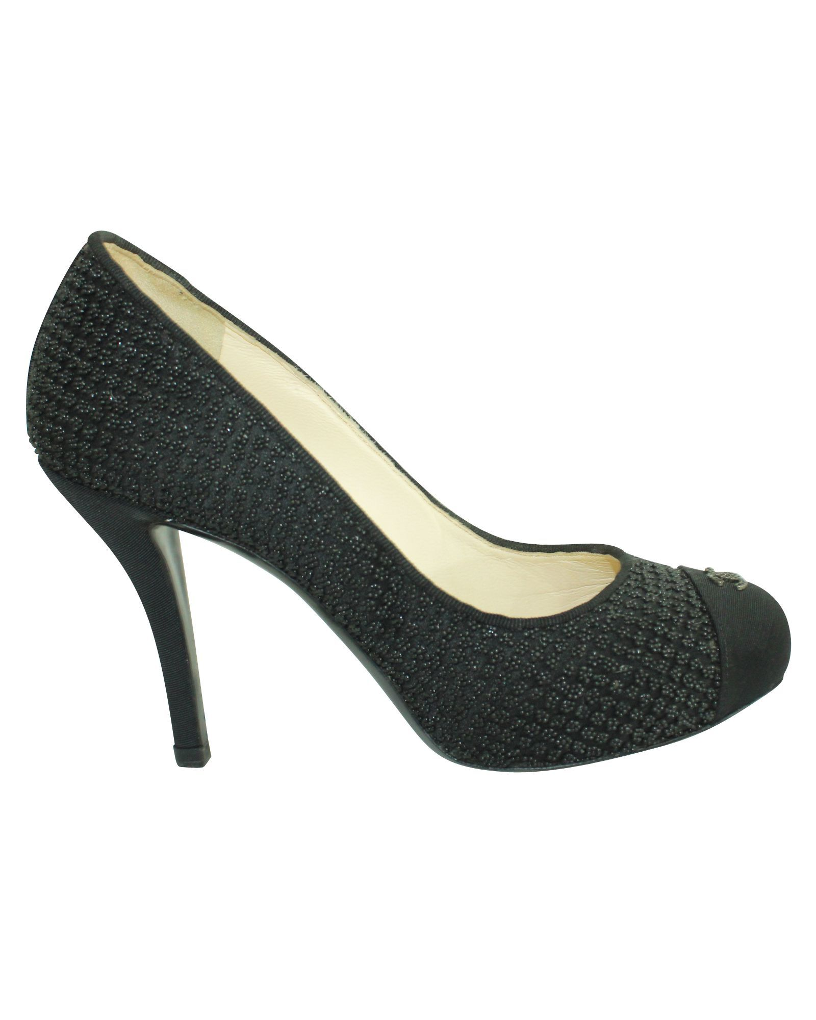 Chanel Round Toe Cc Black Heels -Pre Owned Condition Very Good