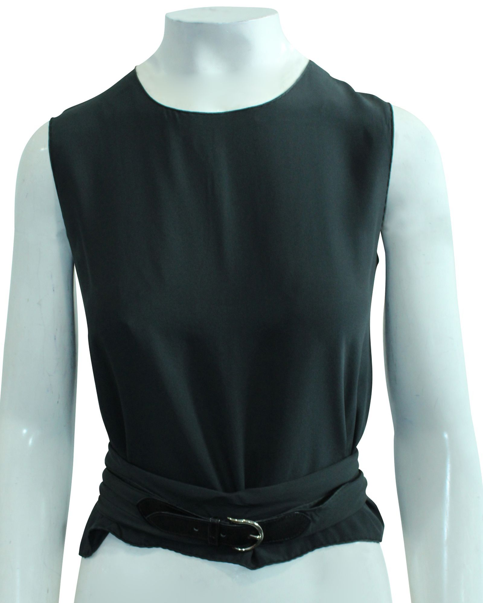 Hermès Charcoal Silk Twill Top With Silk/Leather Belt -Pre Owned Condition Very Good