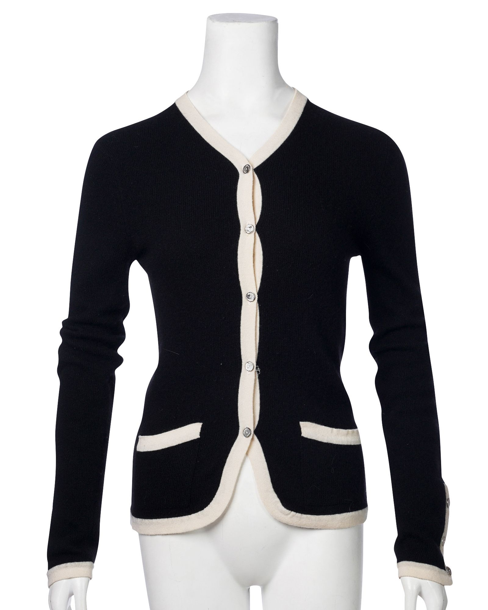 Chanel Vintage Black And White Cardigan -Pre Owned Condition Good