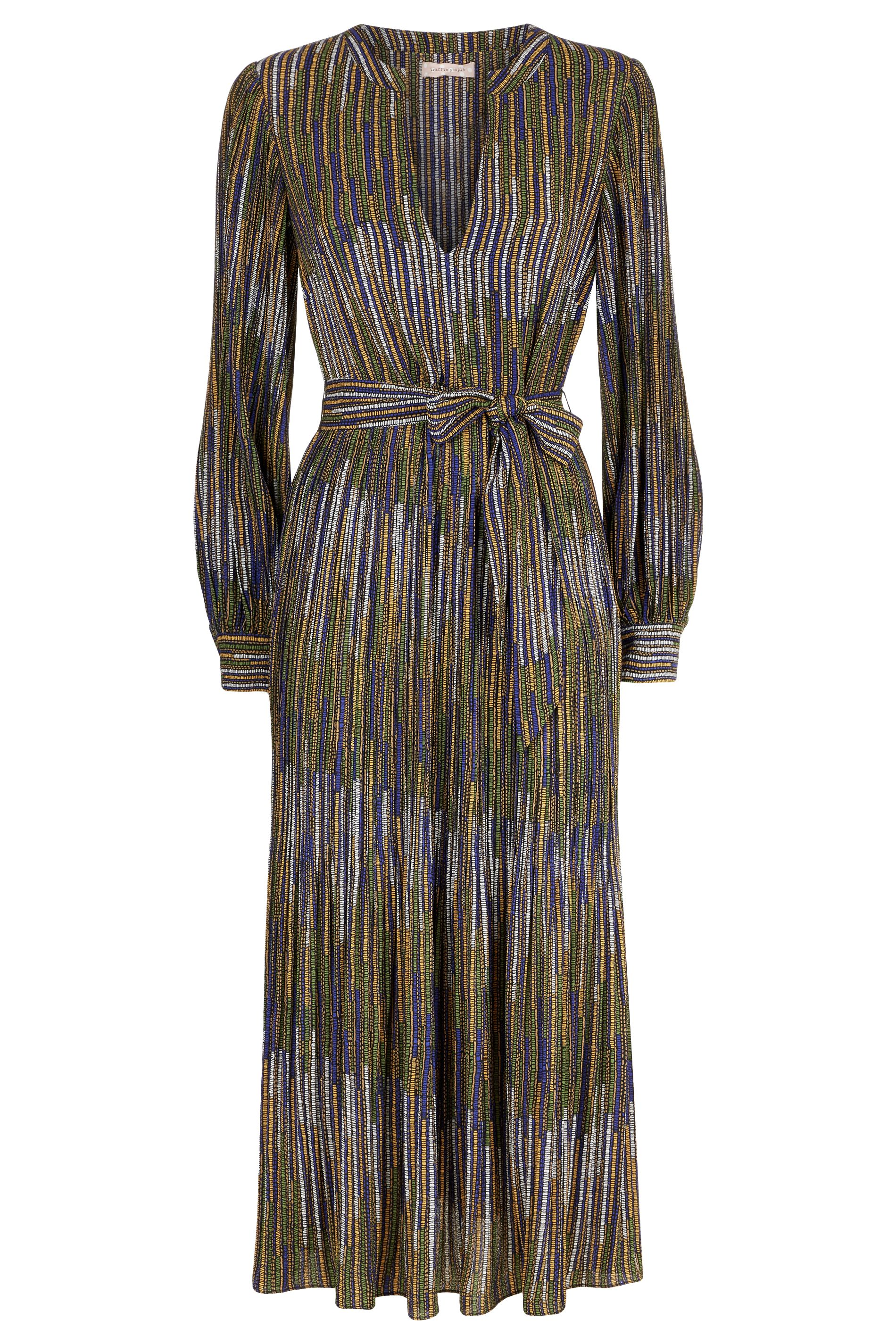Fallen Printed Pleated Maxi Dress in Mustard and Blue