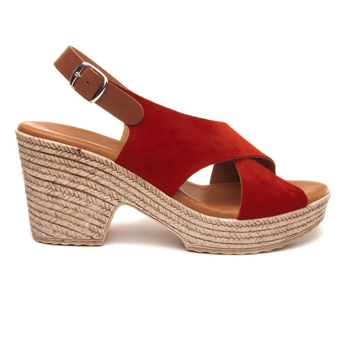 Purapiel Platform Sandal in Red