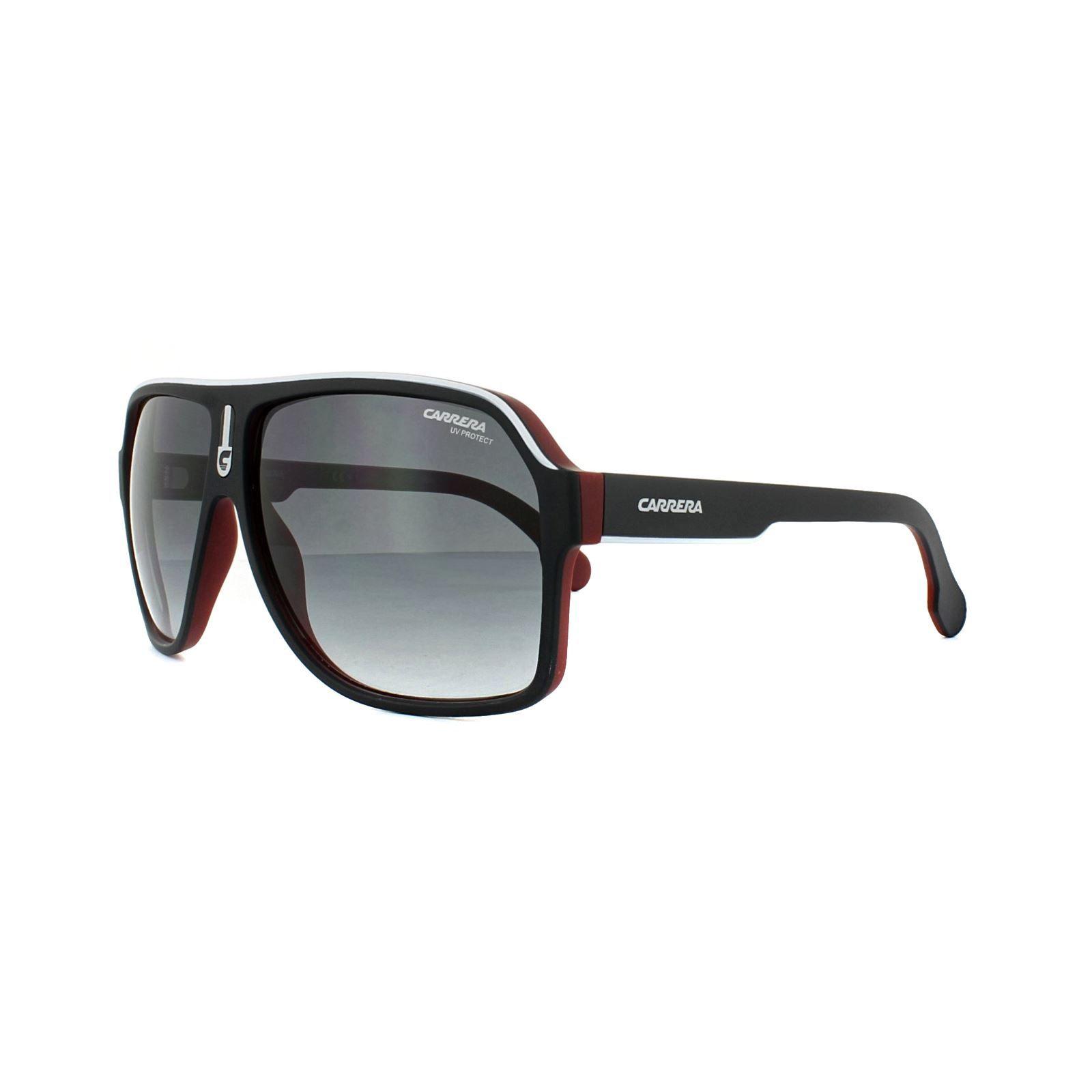 Carrera Sunglasses 1001/S BLX 9O Black White Red Dark Grey Gradient