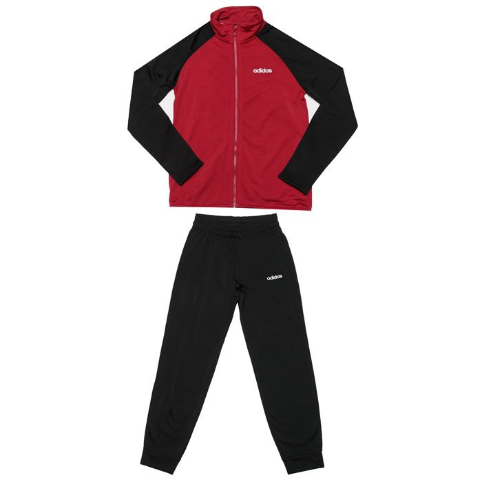 Boy's adidas Junior Entry Tracksuit in Black Red