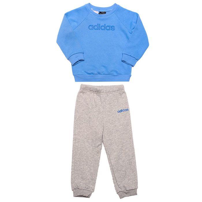 Boy's adidas Infant Linear Fleece Jogger Set in Blue