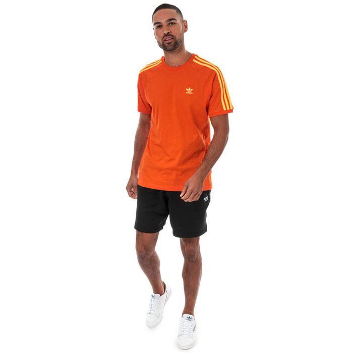 Men's adidas Originals 3-Stripes T-Shirt in Orange
