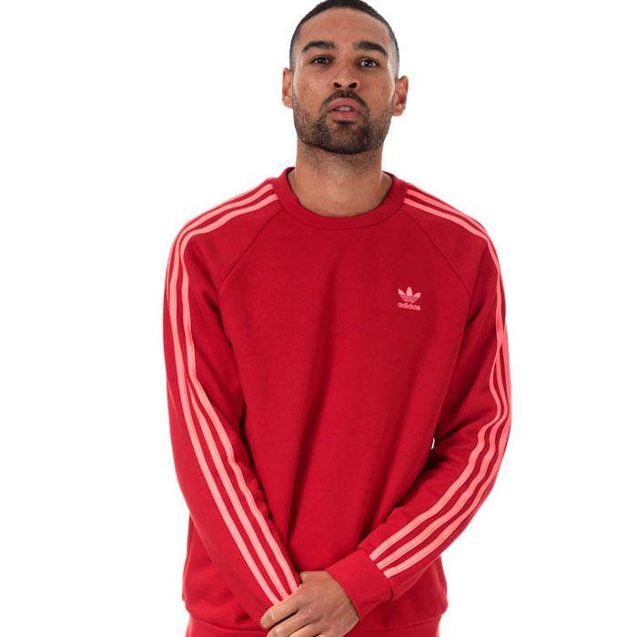 Men's adidas Originals 3-Stripes Crew Sweatshirt in Red