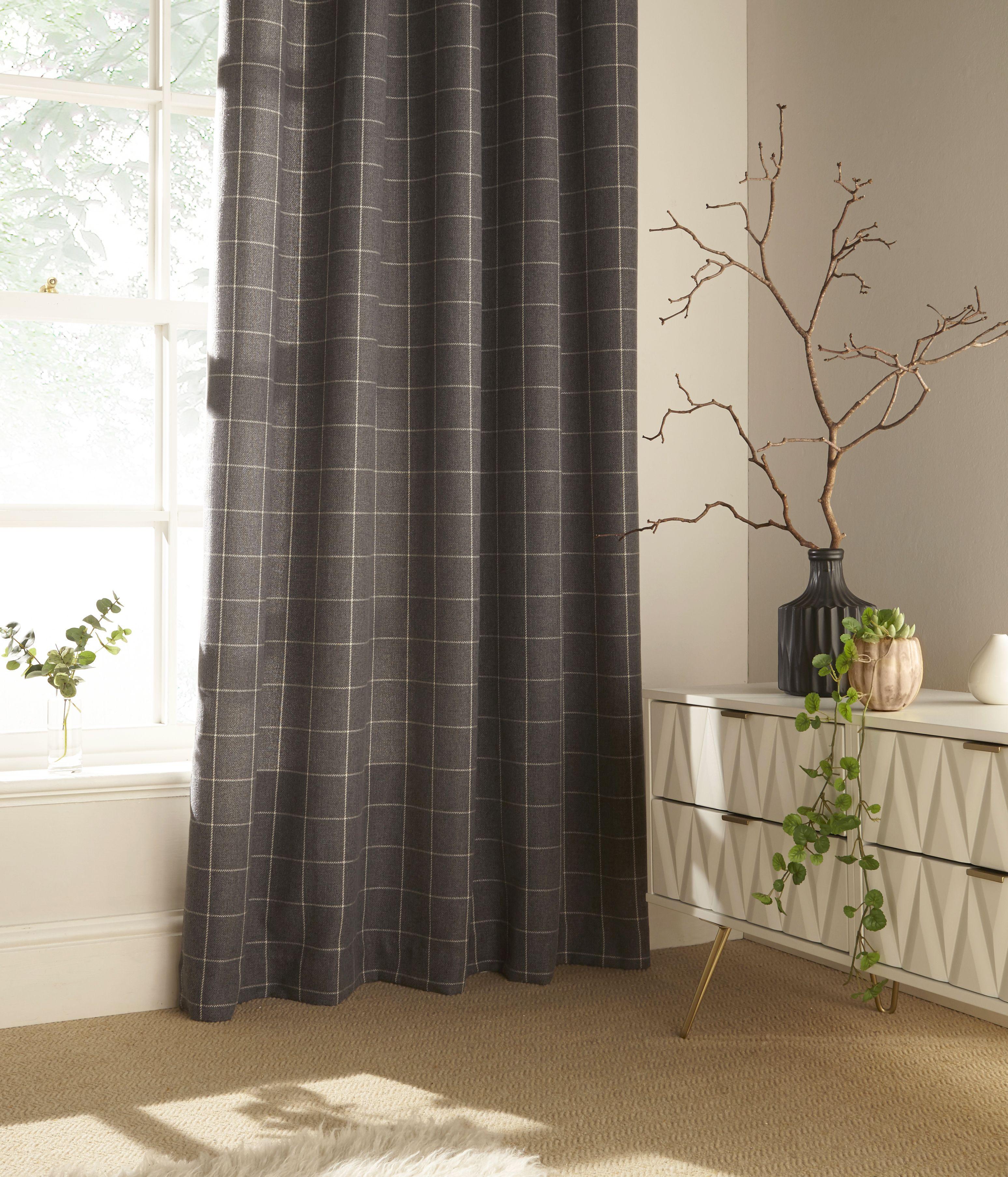 Ellis Windowpane Check Eyelet Curtains in Grey