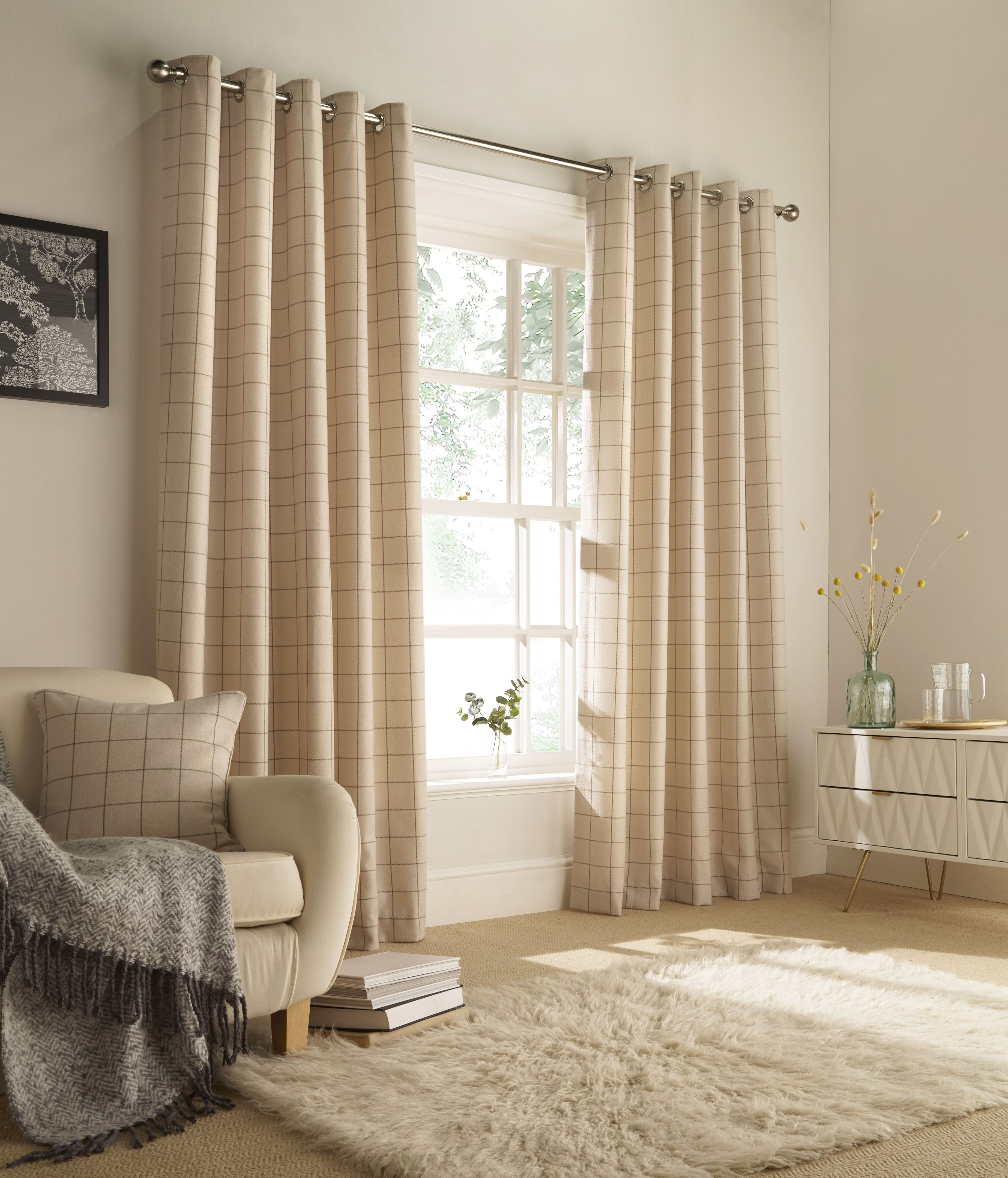 Ellis Windowpane Check Eyelet Curtains in Natural