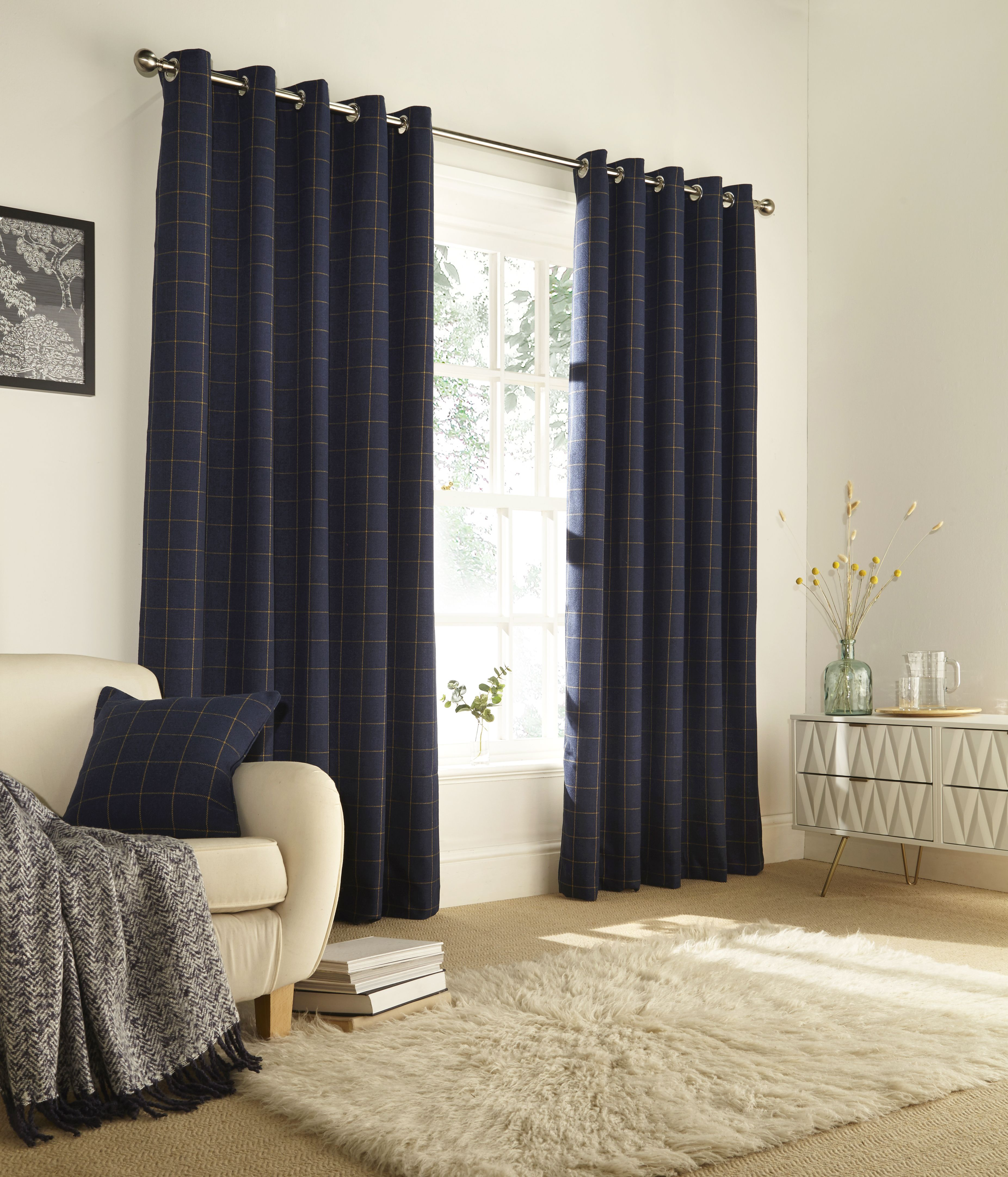 Ellis Windowpane Check Eyelet Curtains in Navy