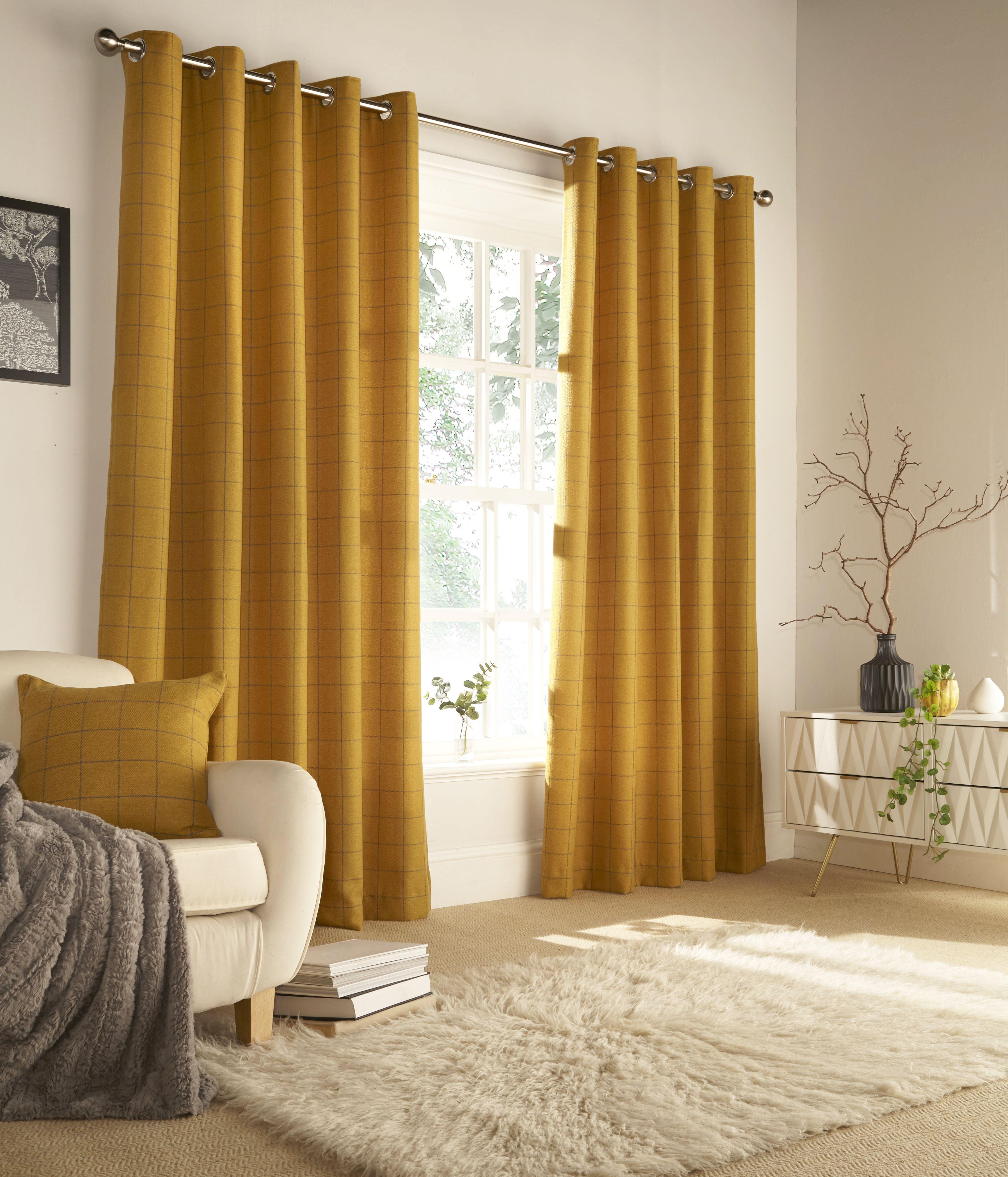 Ellis Windowpane Check Eyelet Curtains in Ochre