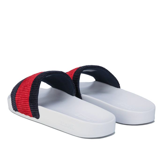 Women's Tommy Hilfiger Colour-Blocked Corduroy Slde Sandals in White