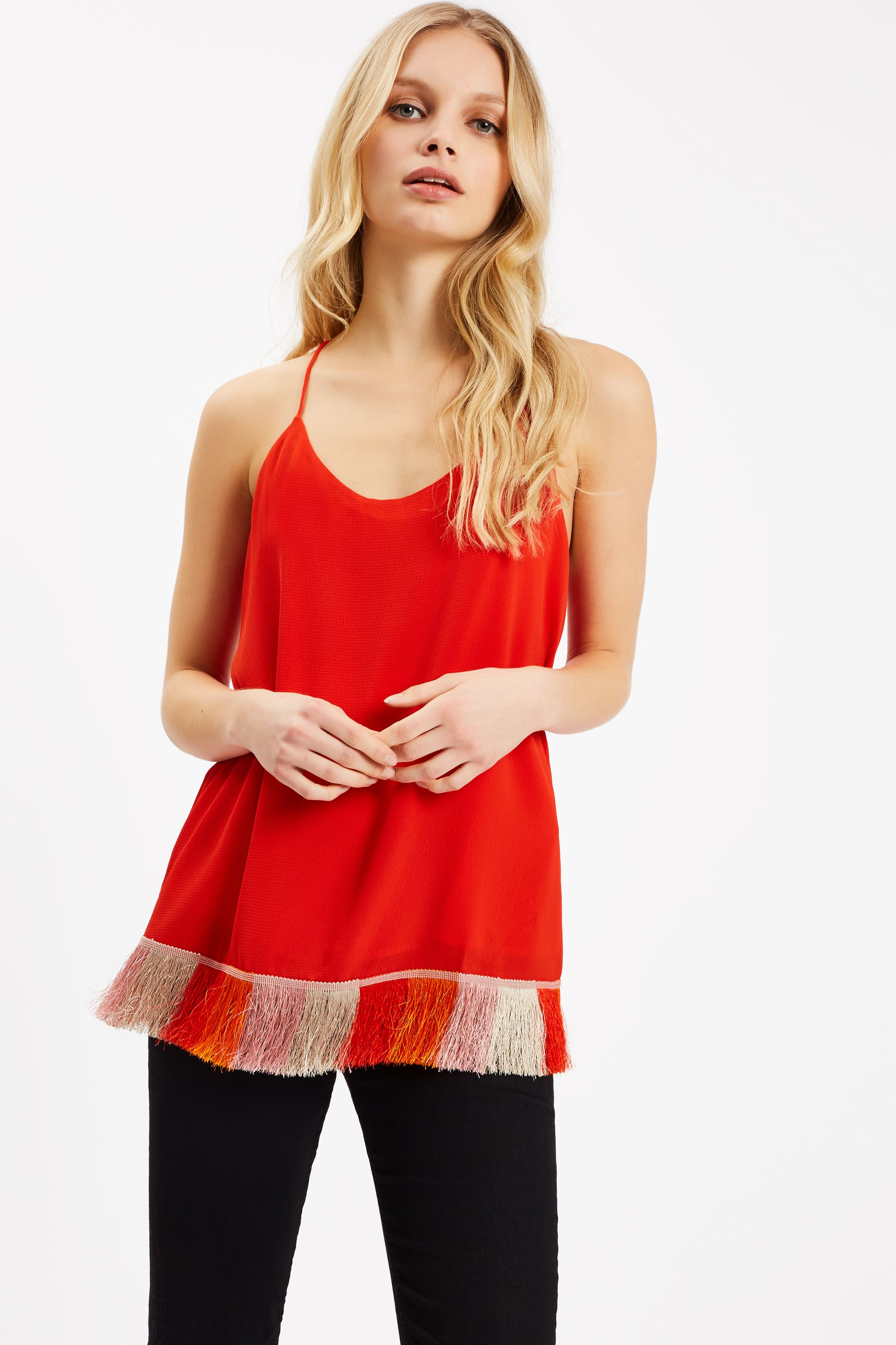 Edge of Reason Fringed Red Camisole