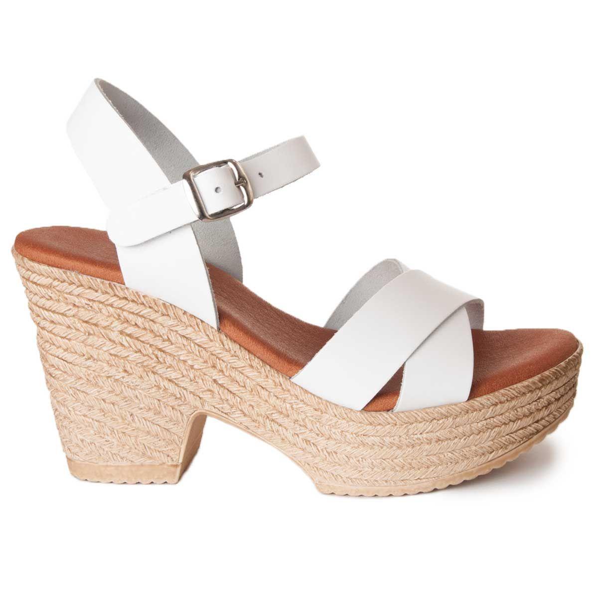 Leindia Platform Sandal in White