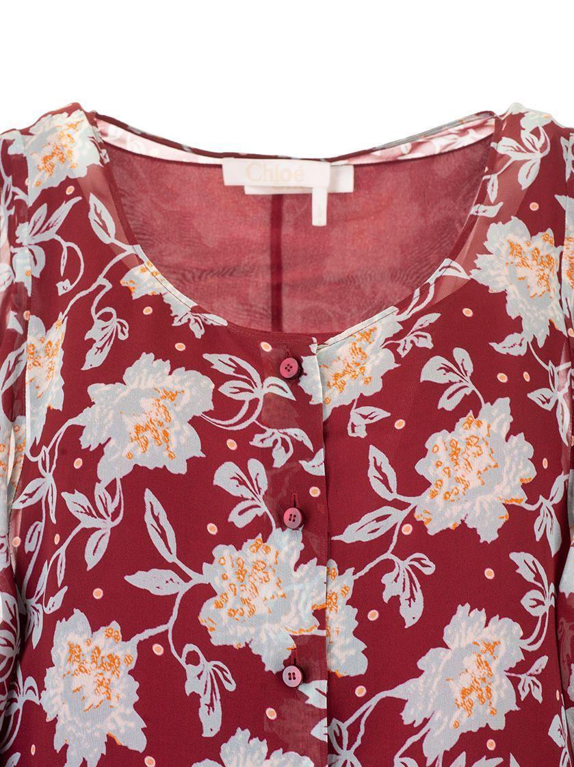 CHLOÉ WOMEN'S CHC19ARO613479L0 RED SILK DRESS