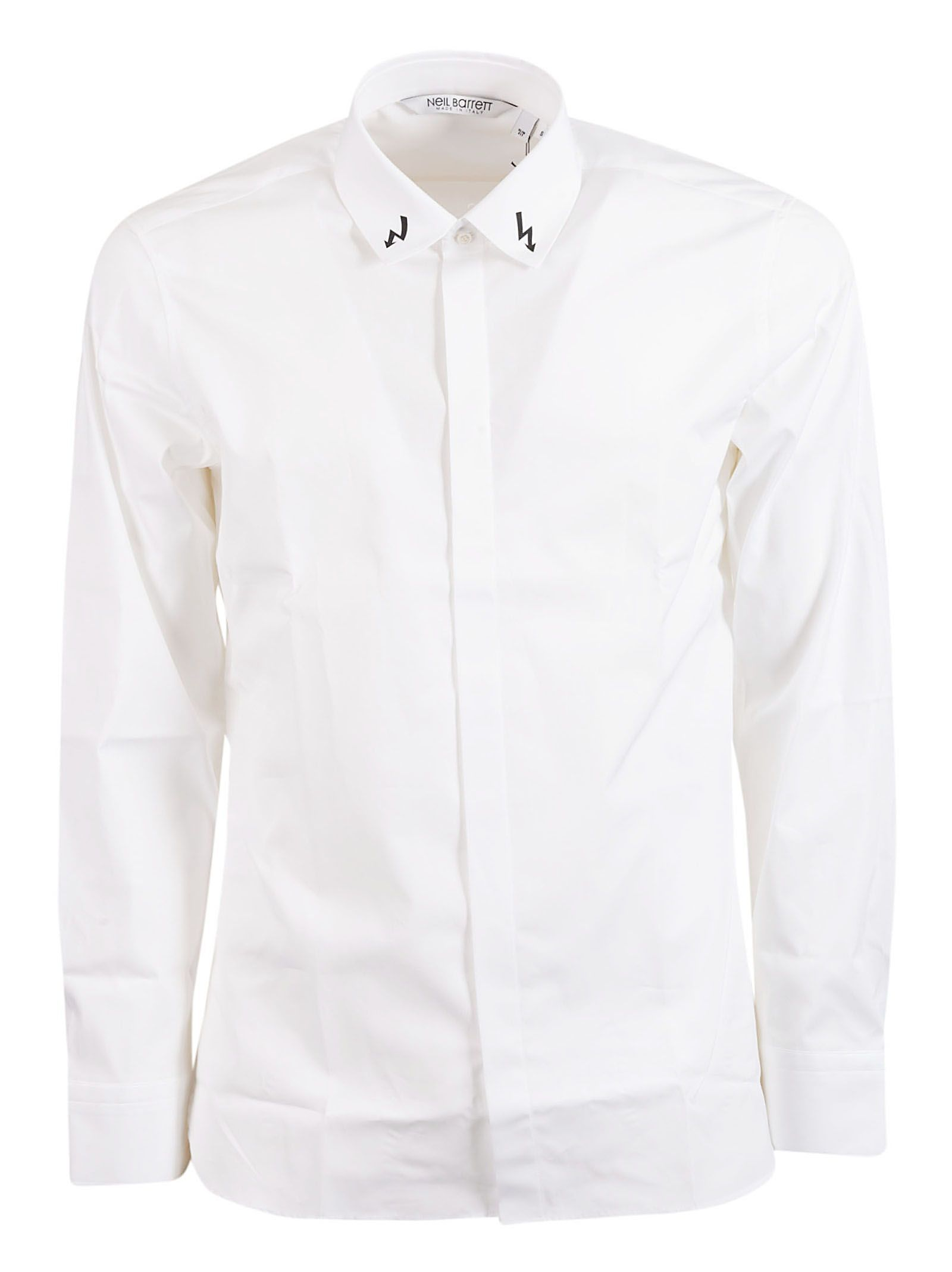NEIL BARRETT MEN'S PBCM1082CL013S526 WHITE COTTON SHIRT