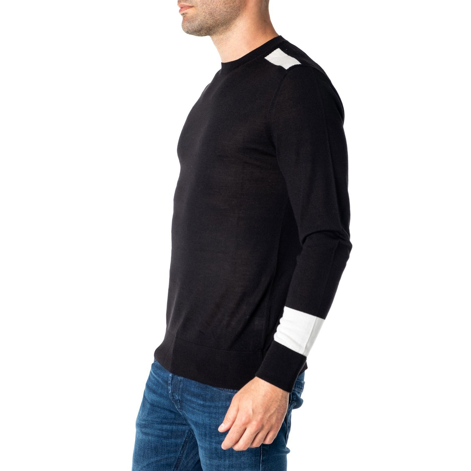 NEIL BARRETT MEN'S PBMA977M608042 BLACK WOOL SWEATER