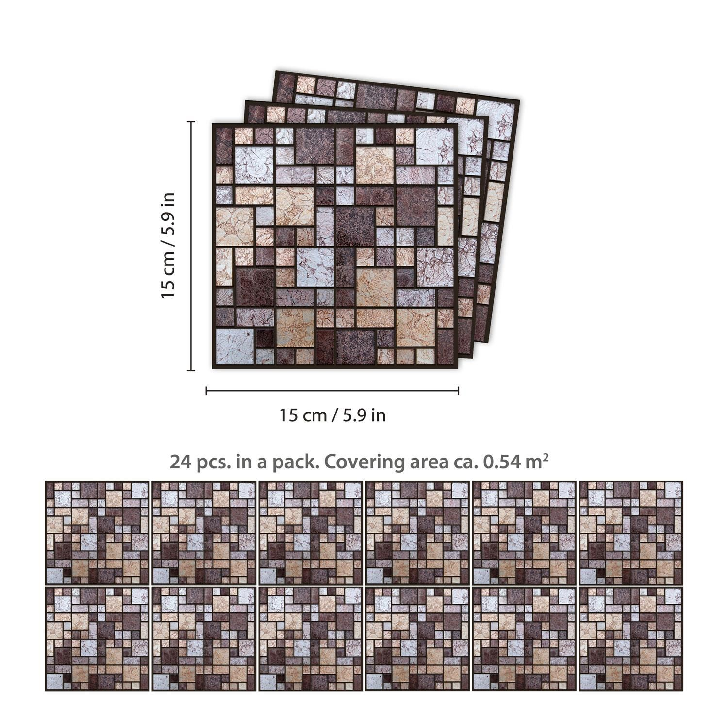 Brown and Beige Stone Mosaic Wall Tile Sticker Set - 15cm (6inch) - 24pcs one pack Self Adhesive DIY Wall Sticker