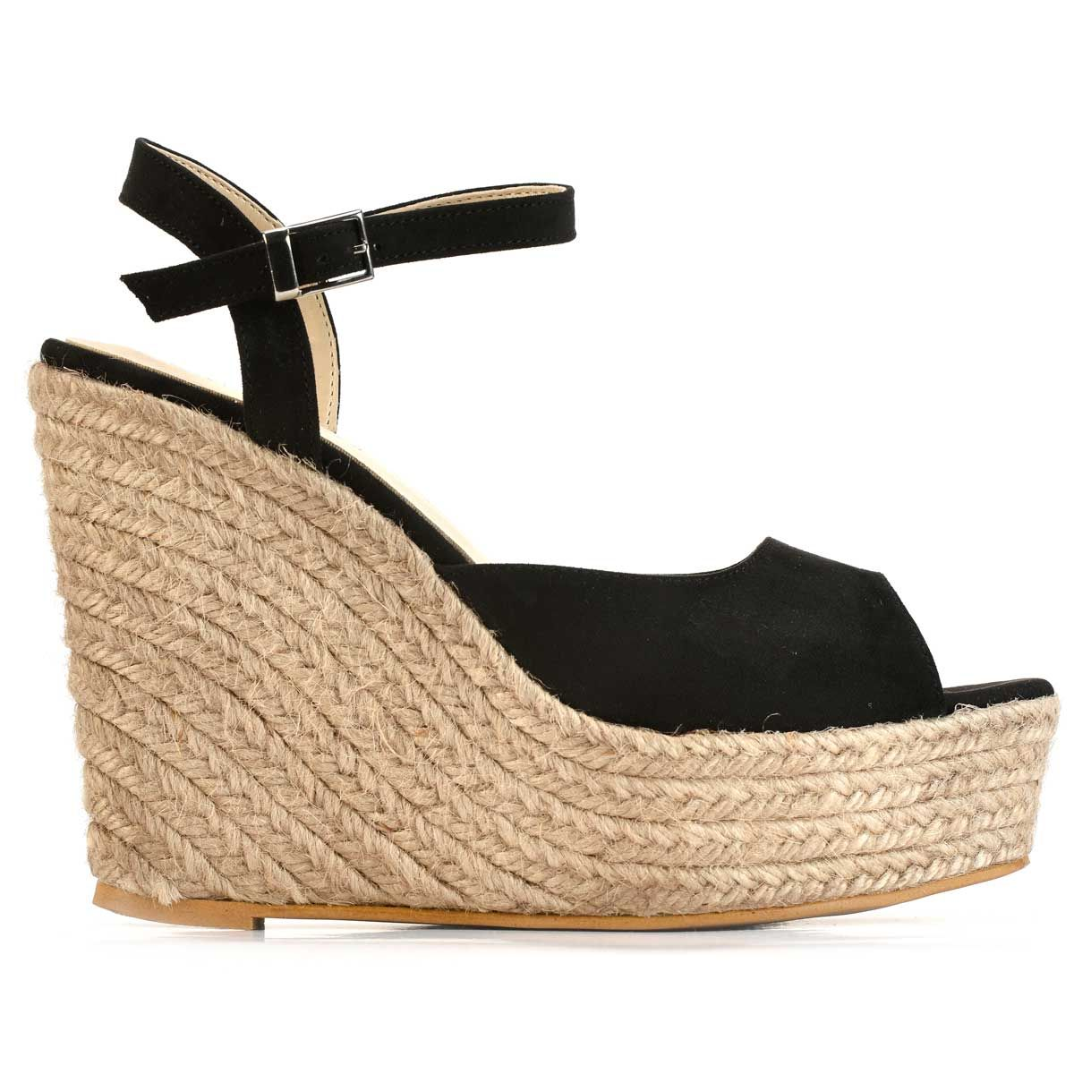 Montevita Ankle Strap Wedge Espadrille in Black