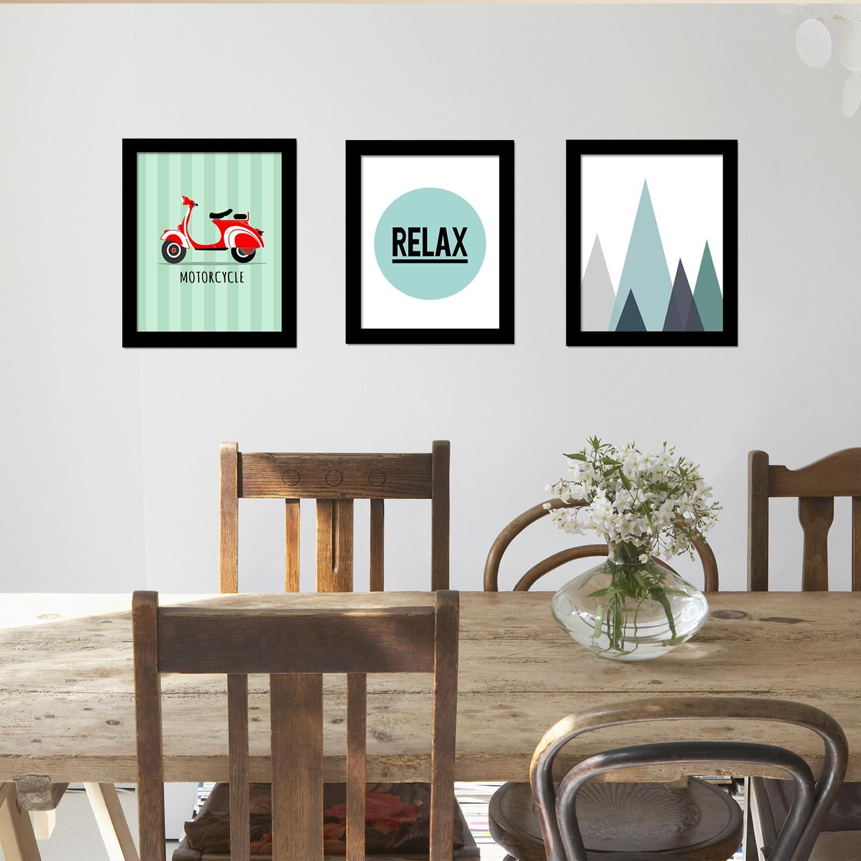 Relax Art Canvas Printing + Landscape Art Canvas Printing + Motorcycle Art Canvas Printing Framed Photo, Framed Art