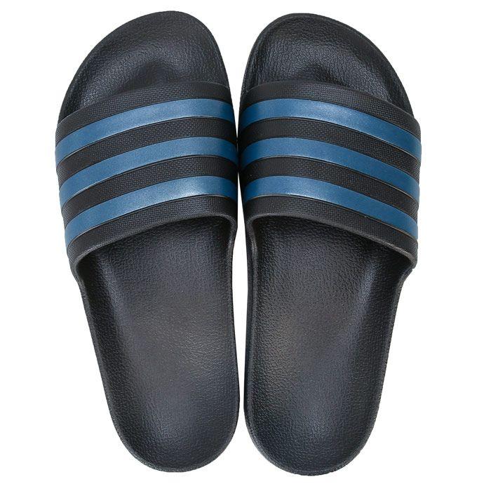 Men's adidas Adilette Aqua Slide Sandals in black blue