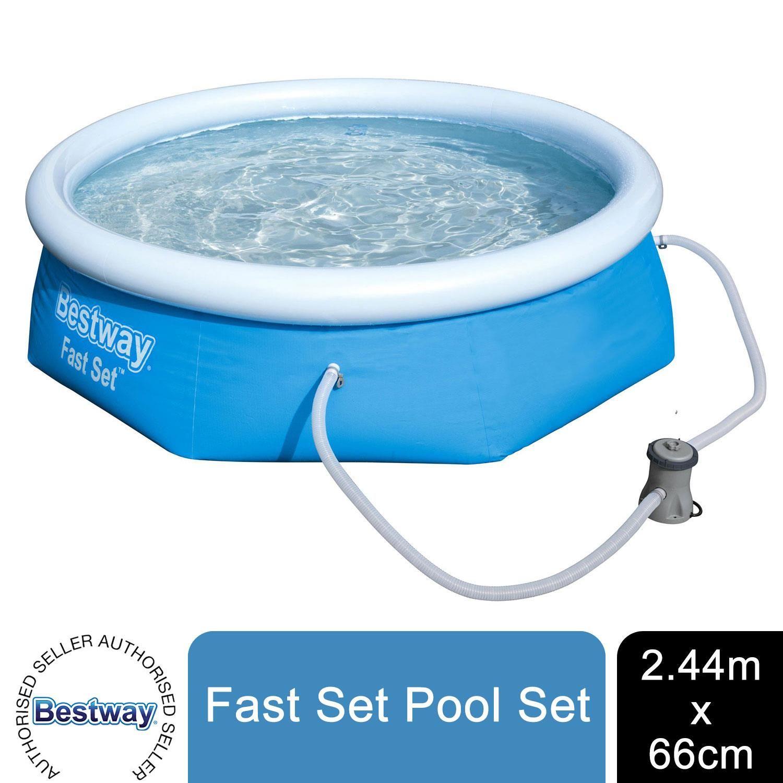 "Bestway Fast Set 8' x 26""/2.44m x 66cm Pool Set"