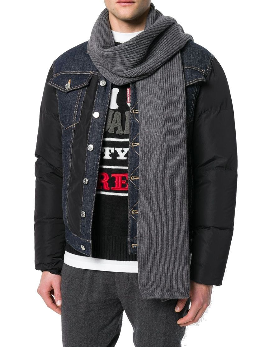 DSQUARED2 MEN'S KNM001601W000012140 GREY WOOL SCARF