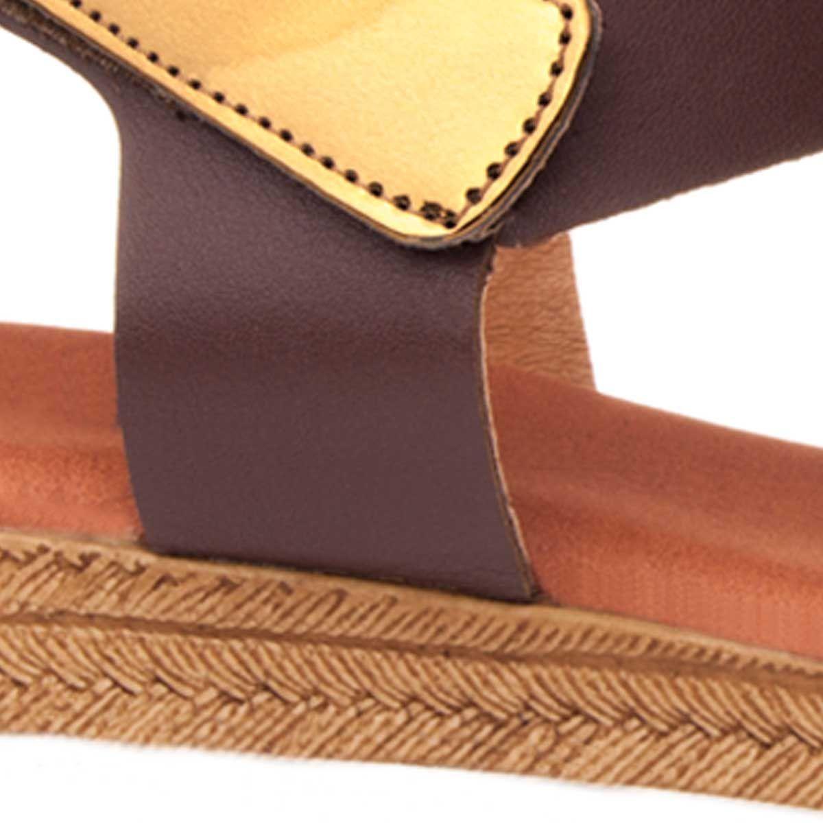 Purapiel Flat Wedge Sandal in Brown