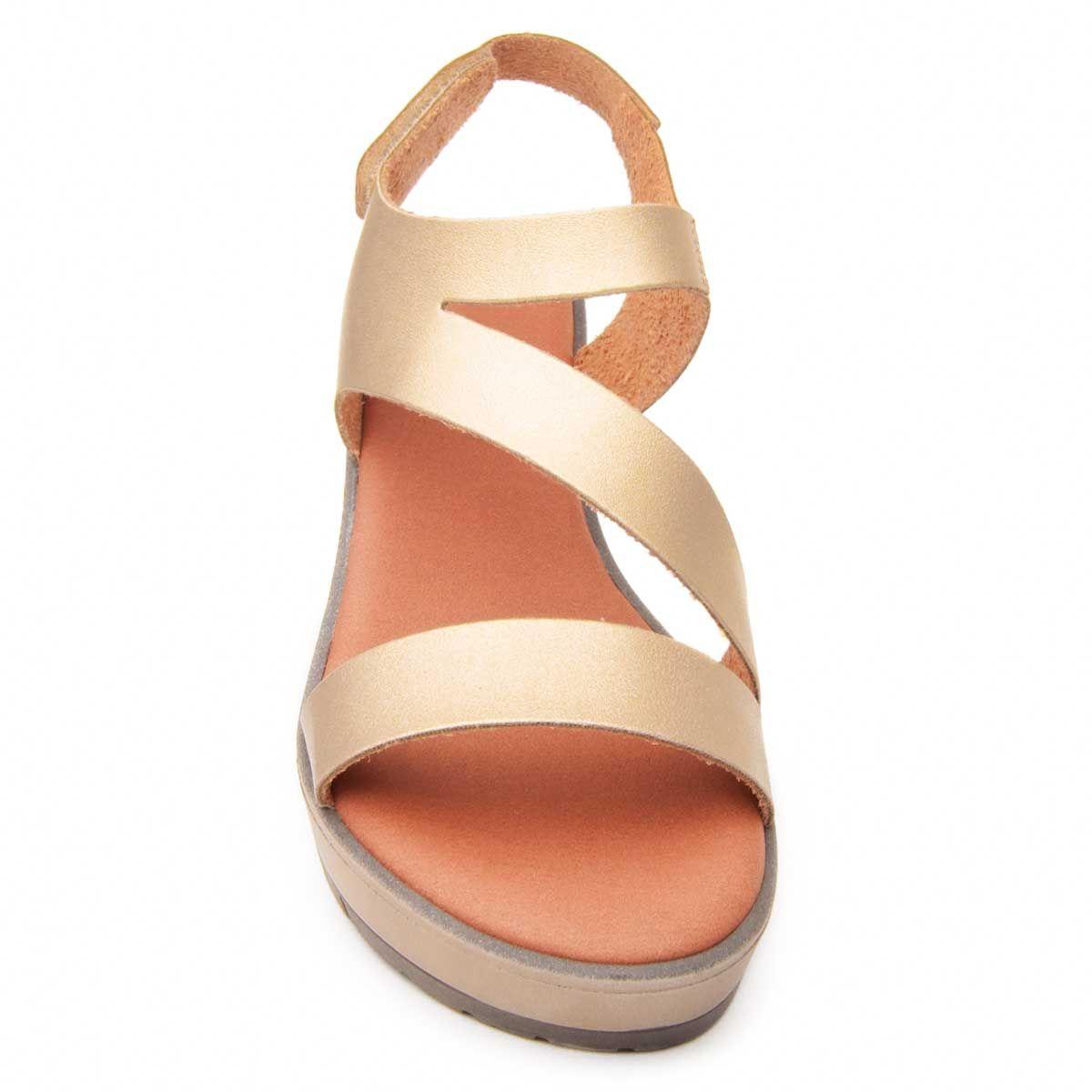 Purapiel Wedge Sandal in Gold
