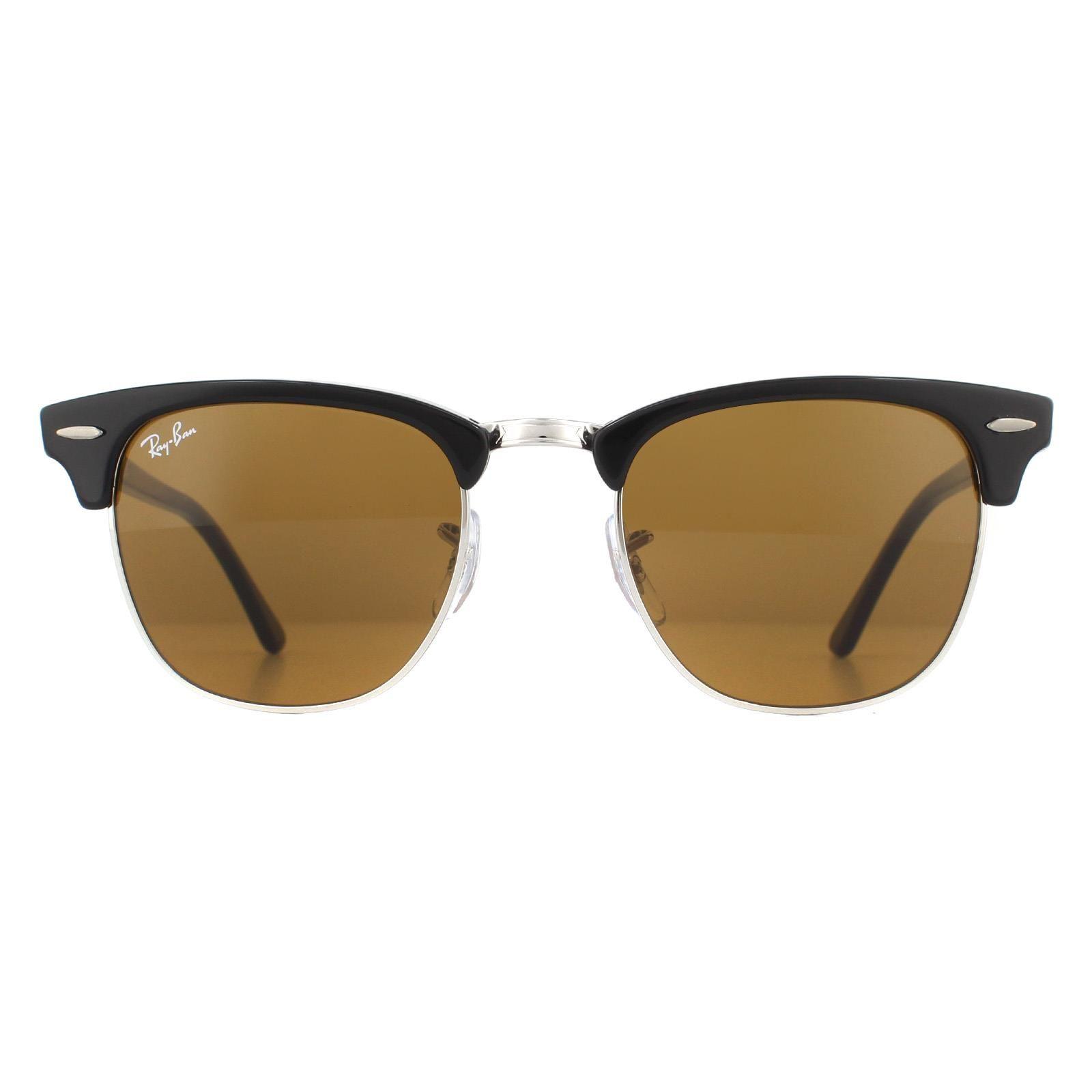 Ray-Ban Sunglasses Clubmaster 3016 W3387 Black Brown B-15 49mm